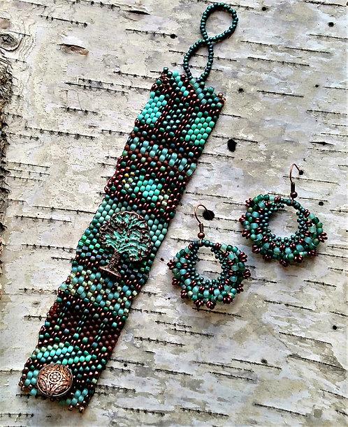 Copper Patina Tree of Life Tapestry Bracelet & Earrings Set