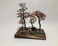 Bonsai Forest - Five Copper Bonsai on Wa