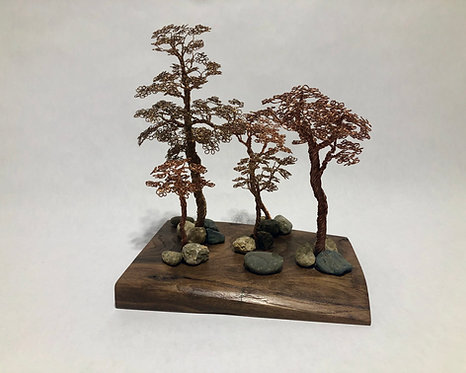 Bonsai Forest - Five Copper Bonsai on Walnut