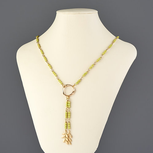 Green Beaded Necklace with Gold Accents
