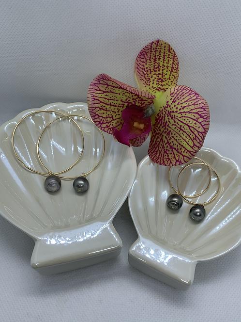 Tahitian Pearl Endless Hoop Earring