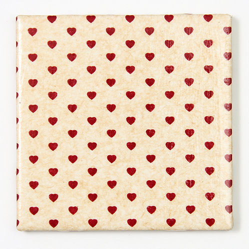 Red Hearts on Tan