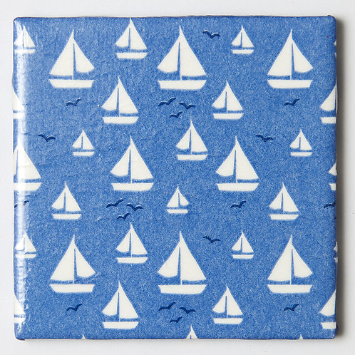 White Sailboats on Blue:  Set of 4