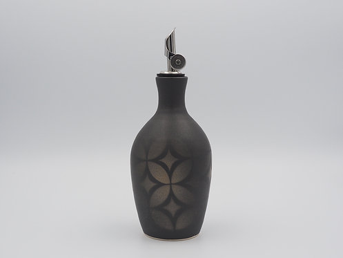 Black Olive Oil Bottle with Geometric Design