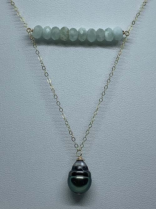 Tahitian Pearl & Stone Necklace- Green Moonstone