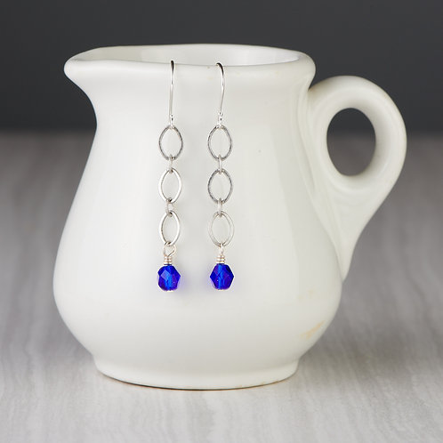 Silver Chain and Blue Beaded Earrings