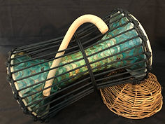 Carved talking drum - Teal and grass.jpeg