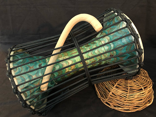 Carved talking drum - Teal and grass