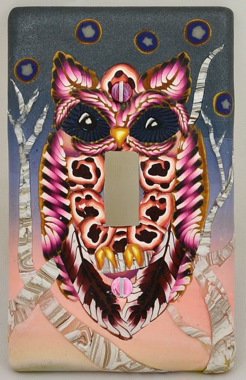 Poetic Pink Winter Owl Switchplate