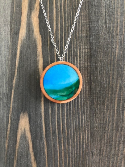 Green and Blue Alcohol Ink Wood Circle Pendant Necklace