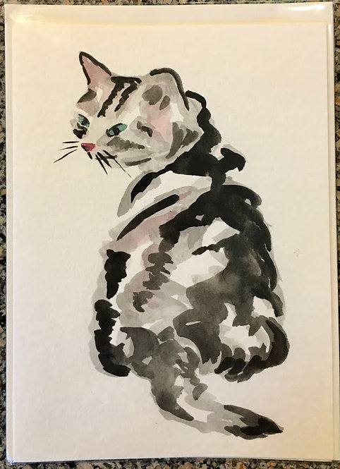 Cat Card - Chinese Ink