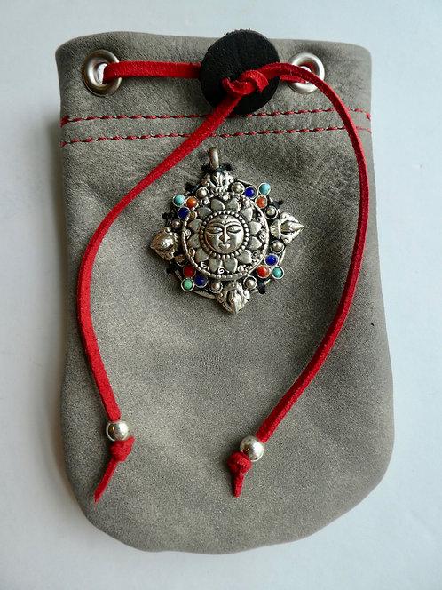 Leather Pouch Tibetan Prayer Box