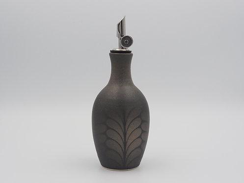 Black Olive Oil Bottle with Botanical Design