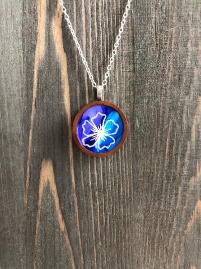 Hibiscus Blue Purple Hand Painted Pendant Necklace