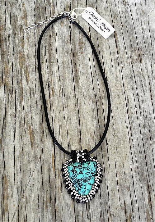 Turquoise Cabochon Leaf Dangle Necklace