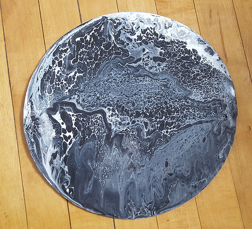 Black and White Planet on Cardboard