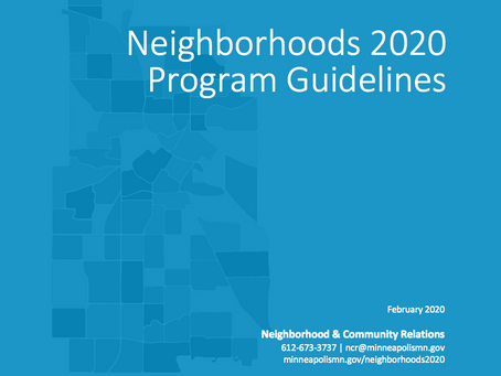 Neighborhoods 2020 Program Guidelines available for review and comment through April 17