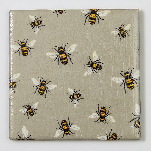 Bees on Grey:  Set of 4