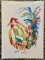 Rooster Card - Watercolor