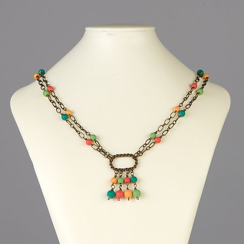 Double Strand Multi-Color Beaded Necklace