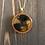 Thumbnail: Yellow, Black, Gold Alcohol Ink Wood Circle Pendant Necklace