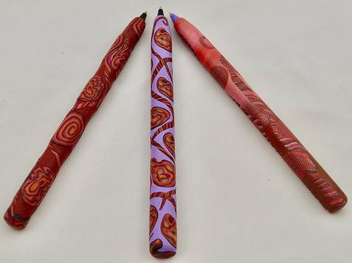Set of 3 Pens: Red & Violet Swirls