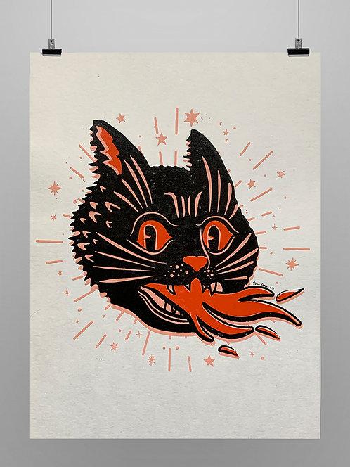 Print Spooky Fire Cat