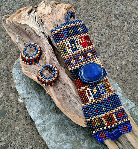 Tapestry Lapis Cabochon Cuff & Earrings