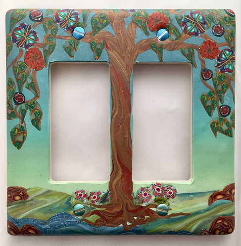 Tree of Life Double Slider plate- Blue & Green
