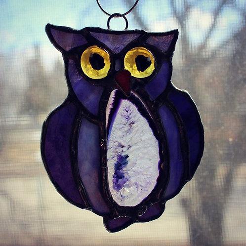 Purple Owl with Purple Agate