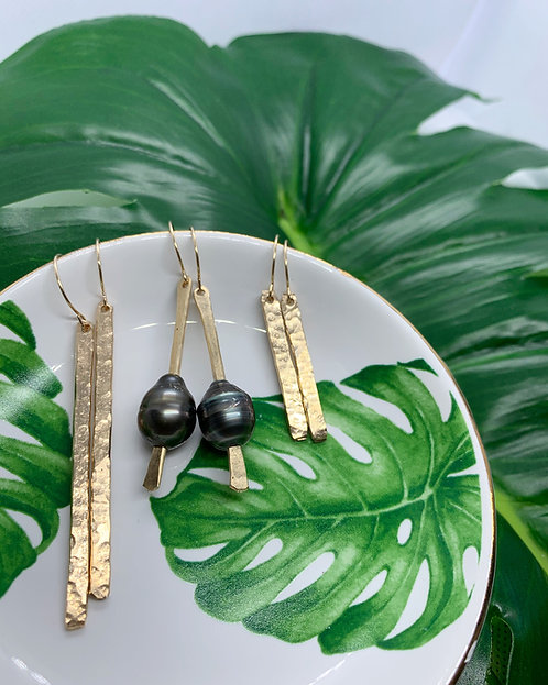 Tahitian Pearl Drop Bar Earrings