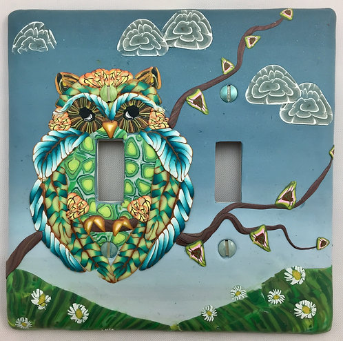 Double Owl Switchplate- Turquoise