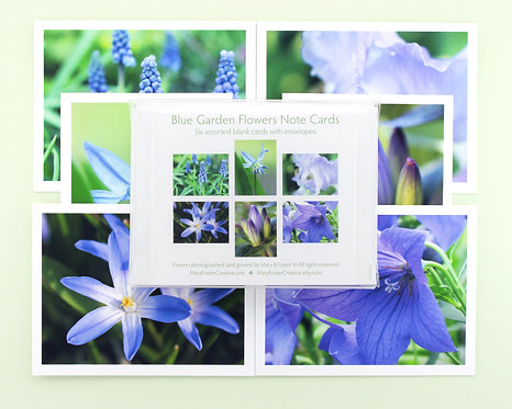 Blue Garden Flowers Photo Note Cards