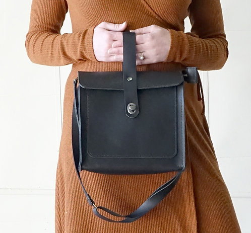 Black Leather Satchell Shoulder Bag