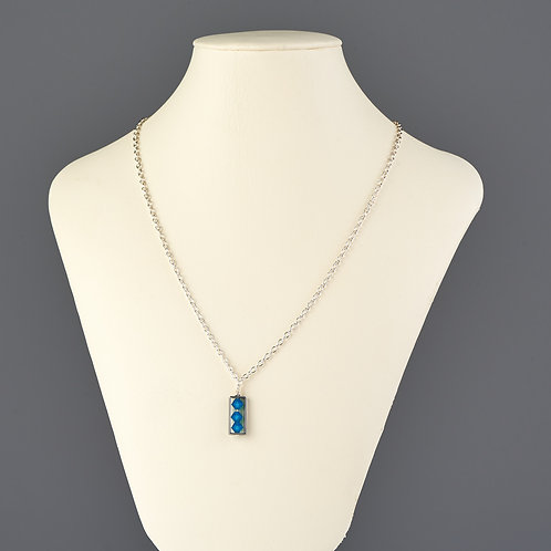 Silver and Aqua Crystal Pendant Necklace