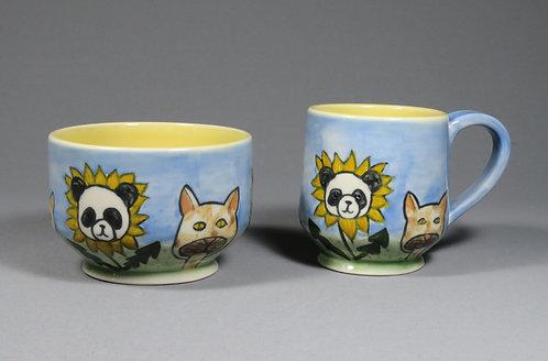 Cute Cryptid Pandalions & Meowshrooms Mug & Bowl Set