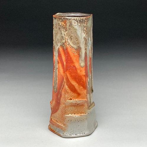 Orange Shino Faceted Vase