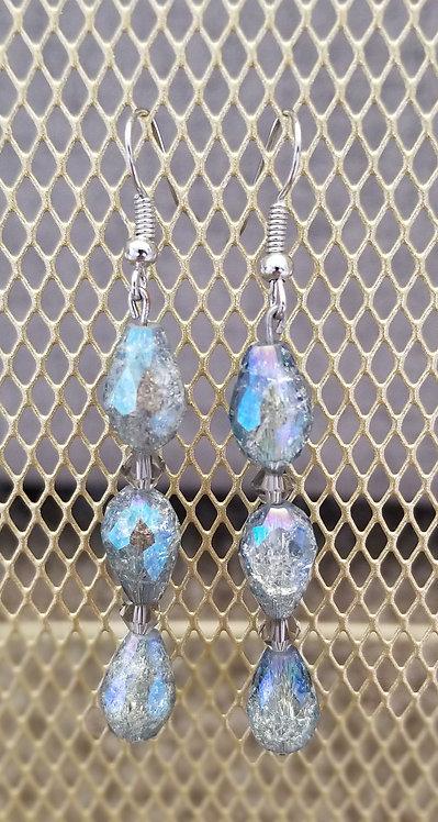 Blue Grey Raindrop Earrings