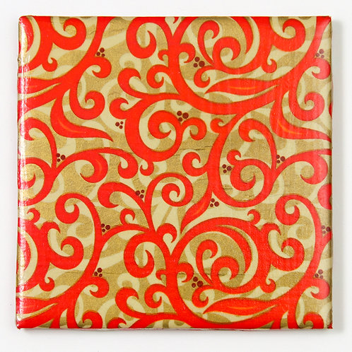 Red Swirls on Gold:  Set of 4