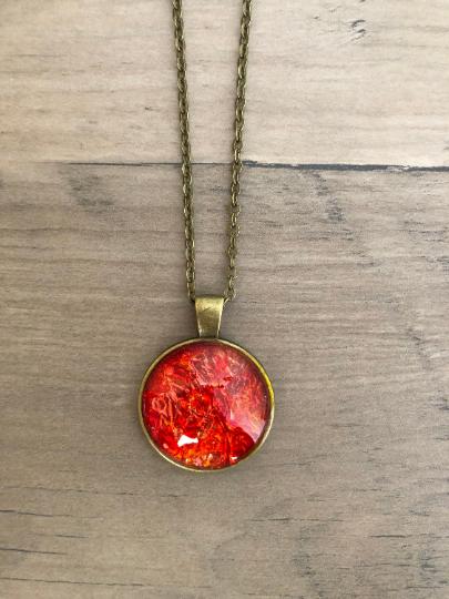 Red, Orange, Gold Alcohol Ink Wood Circle Pendant Necklace
