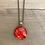 Thumbnail: Red, Orange, Gold Alcohol Ink Wood Circle Pendant Necklace