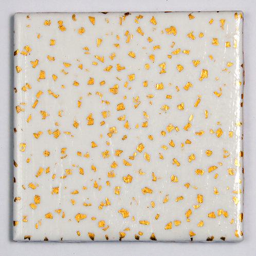 Gold Flecks on White