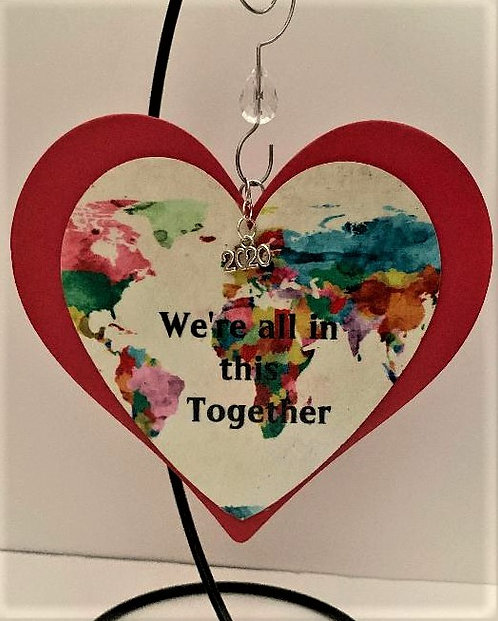 "Beautiful Commemorative 2020 ""Wood Heart"" Ornament"
