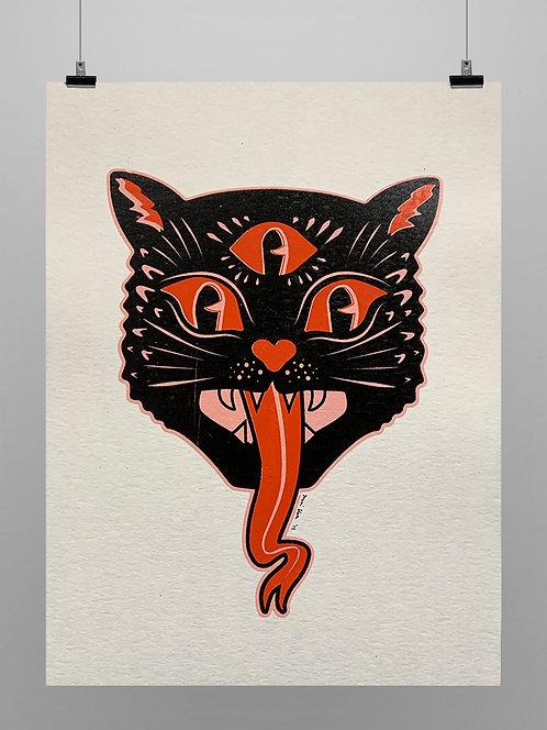 Print Spooky 3-Eyed Cat