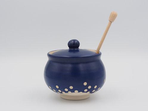 Blue & White Honey Pot With Polka Dots