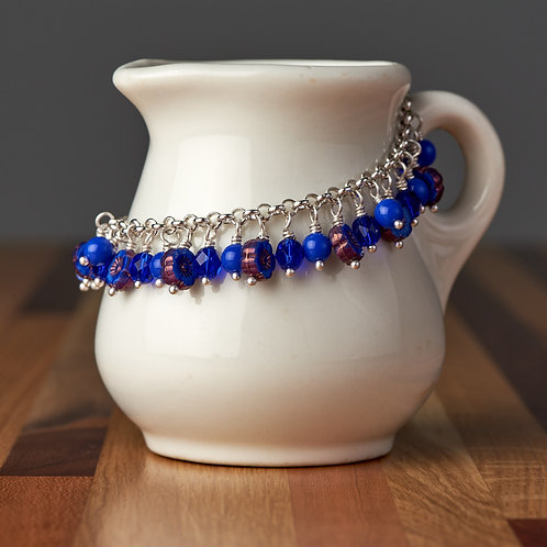 Cobalt Blue Flower Beaded Bracelet