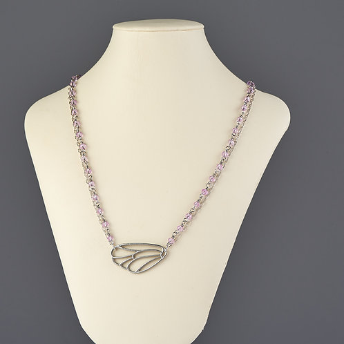Lavender and Silver Beaded Necklace with Butterfly Wing
