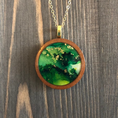Green, Gold Alcohol Ink Wood Circle Pendant Necklace