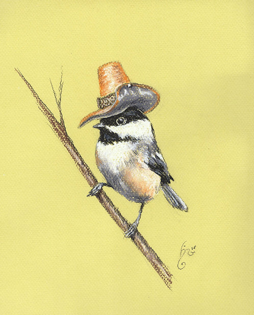 Chickadee in Hat