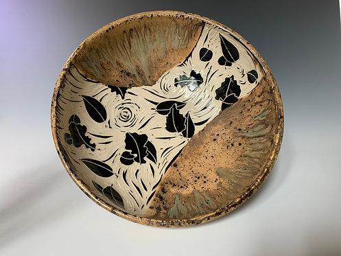Large Tan Speckled Leaf Bowl
